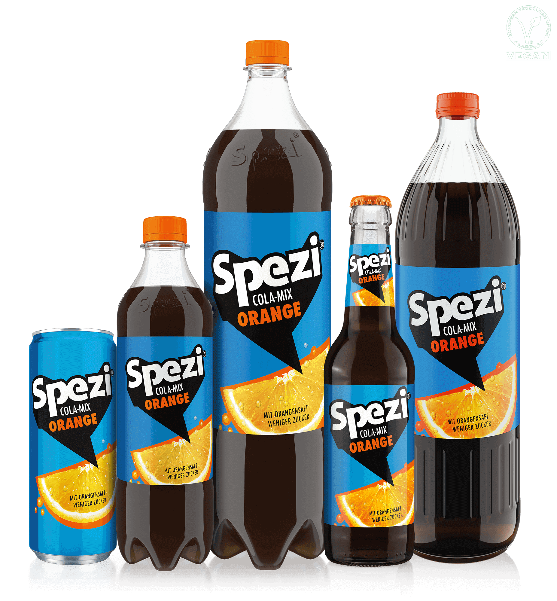 Bottles of Spezi orange in two sizes and a can